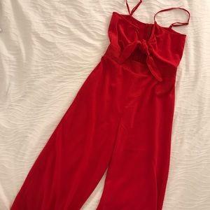 Cute Tie Red Jumpsuit!
